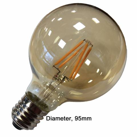 led filament globe retro 95mm goud