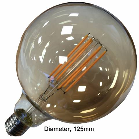 led globe bol filament retro goud 125mm